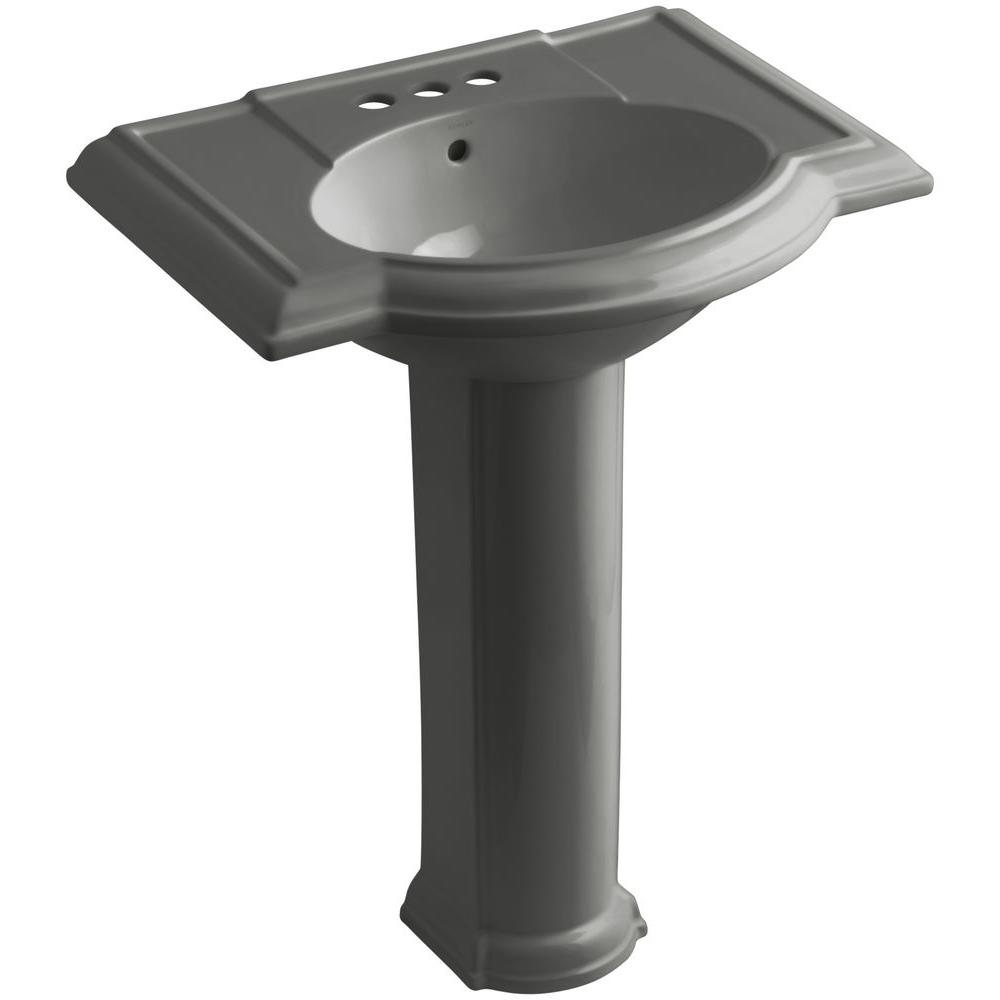KOHLER Devonshire Vitreous China Pedestal Combo Bathroom Sink in Thunder Grey with Overflow Drain