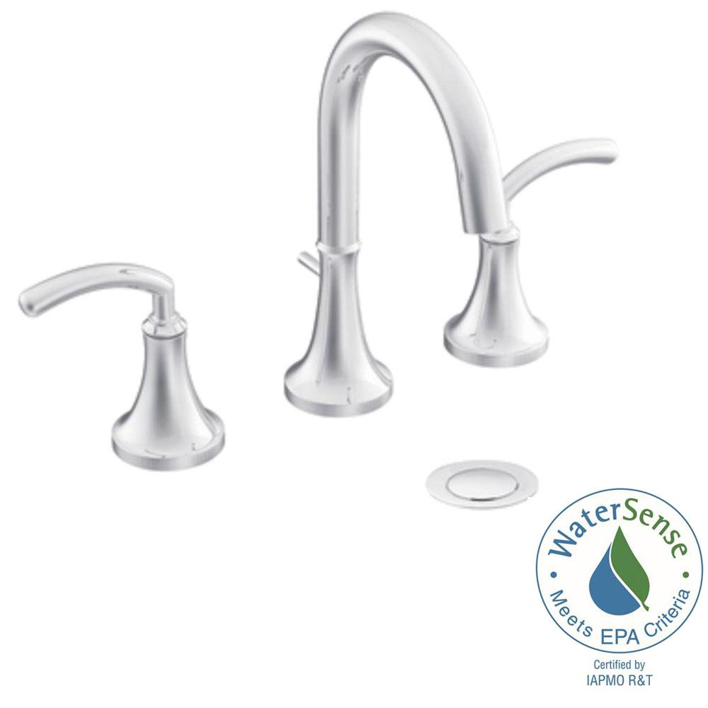 Icon 8 in  Widespread 2 Handle High Arc Bathroom Faucet Trim Kit in. MOEN Brantford 8 in  Widespread 2 Handle High Arc Bathroom Faucet