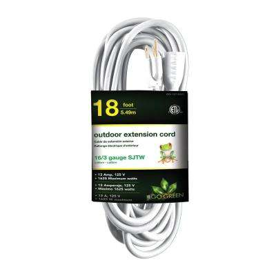 18 ft. 16/3 Heavy Duty Extension Cord, White