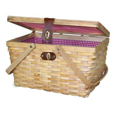 14.5 in. W x 10 in. D x 8.8 in. H Wood Large Gingham Lined Picnic Basket