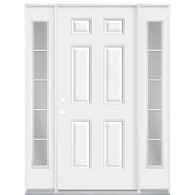 60 in. x 80 in. Premium 6-Panel Right-Hand Inswing Primed Steel Prehung Front Door with Two 10 in. 5 Lite Sidelite