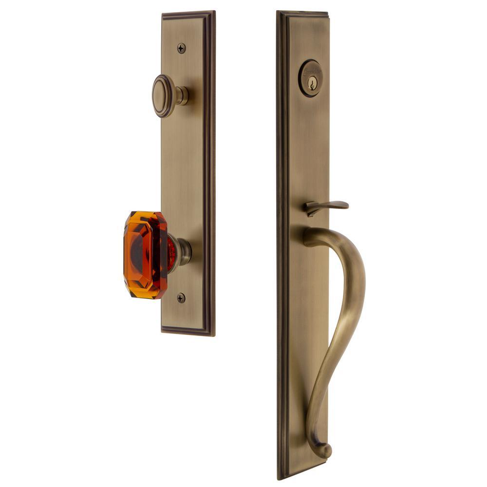 Carre Vintage Brass 1-Piece Dummy Door Handleset with S-Grip and Baguette Amber Knob
