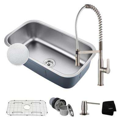 Outlast All-in-One Undermount Stainless Steel 32 in. Single Bowl Kitchen Sink with Faucet in Stainless Steel