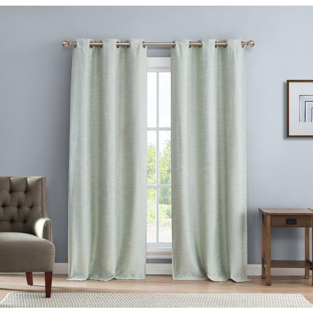 Fay Blue Blackout Linen Look Grommet Panel Pair - 38 in. W x 112 in. L in (2-Piece)