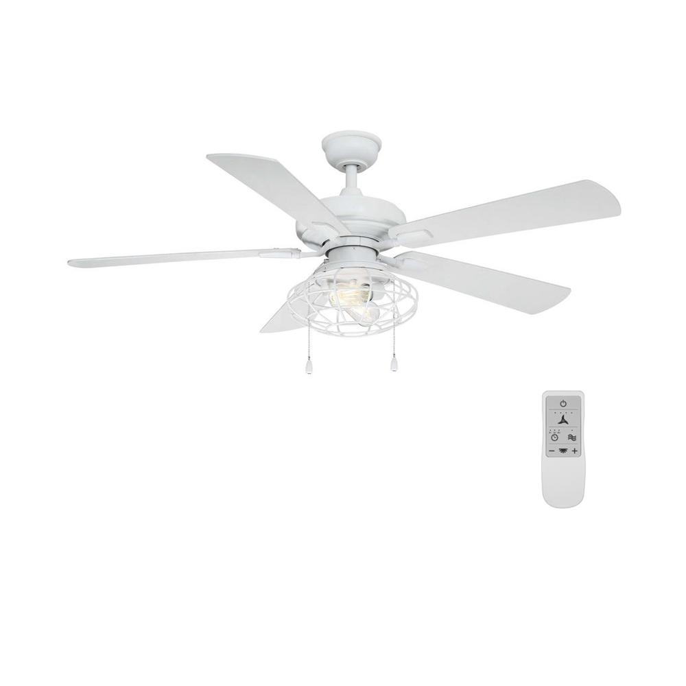 Home Decorators Collection Ellard 52 in. LED Matte White Ceiling Fan with Light Kit and WiFi Remote Control works with Google and Alexa