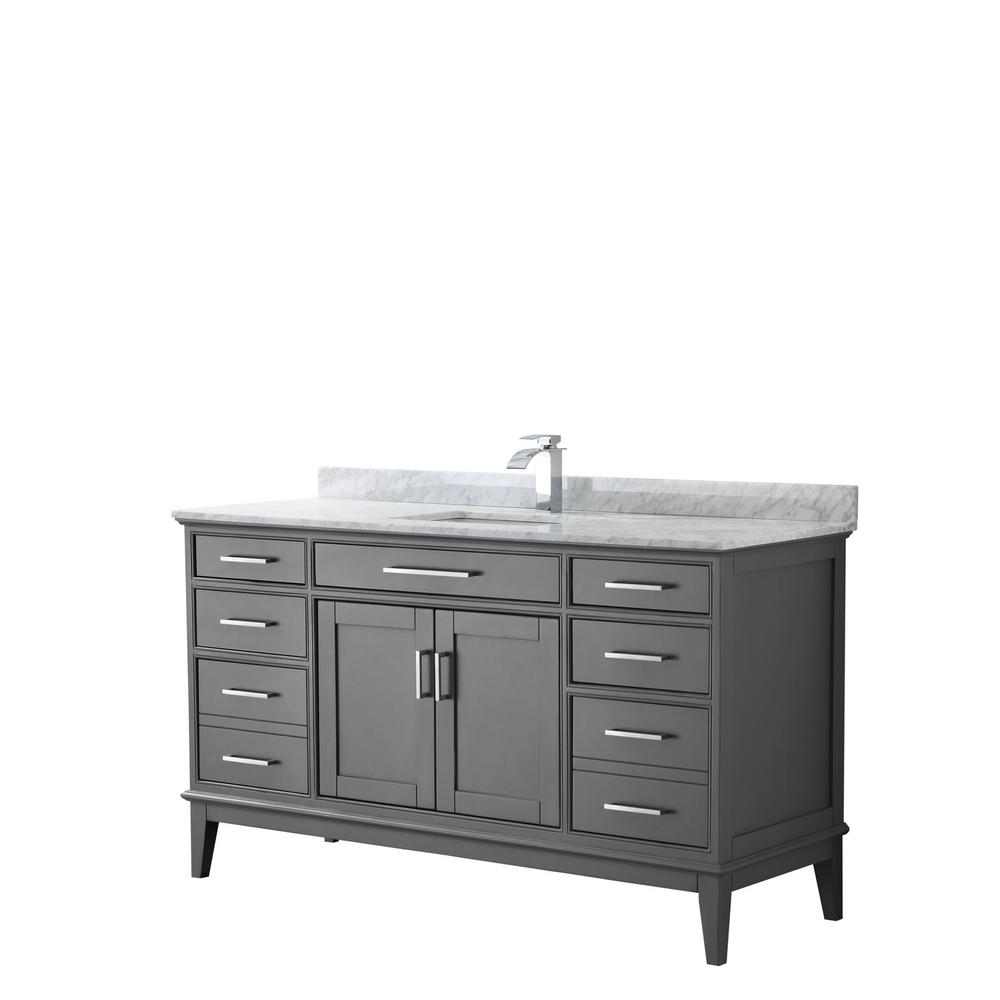 Wyndham Collection Margate 60 in. W x 22 in. D Bath Vanity in Dark Gray with Marble Vanity Top in White Carrara with White Basin