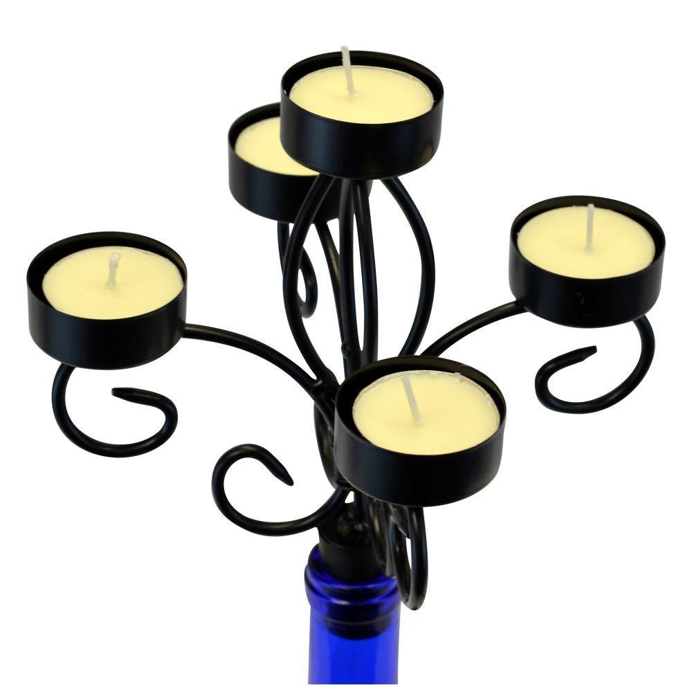 Southern Homewares 5 Piece Wine Bottle Topper Candelabra Candle Holder Set