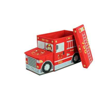 Fire Truck 21.70 in. x 12.20 in. Red Collapsible Storage Bin