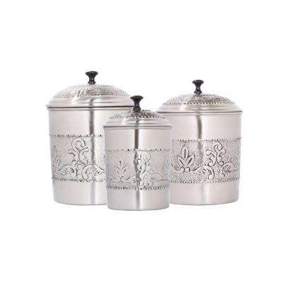 Victoria 3-Piece Antique Pewter Embossed Steel Canister Set