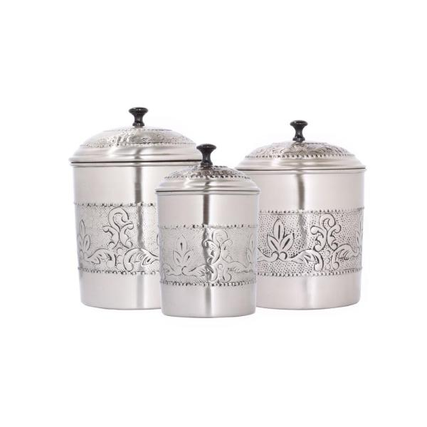 Old Dutch Victoria 3 Piece Antique Pewter Embossed Steel Canister Set 411 The Home Depot