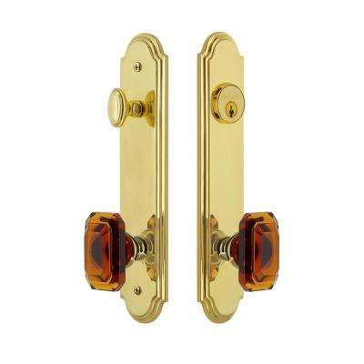 Arc Tall Plate 2-3/8 in. Backset Lifetime Brass Door Handleset with Baguette Amber Door Knob