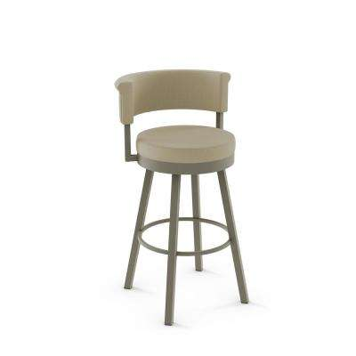 Matt Light Grey Metal Beige Fabric Counter Stool