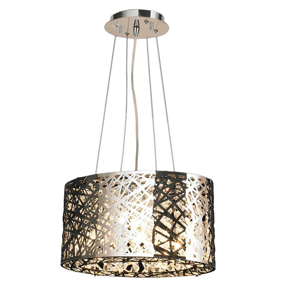 Worldwide Lighting Aramis Collection 5 Light Chrome Crystal Chandelier With Shade