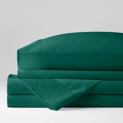 Company Cotton 4-Piece Evergreen Solid 300 Thread Count Wrinkle-Free Sateen King Sheet Set