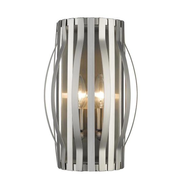 2-Light Brushed Nickel Wall Sconce