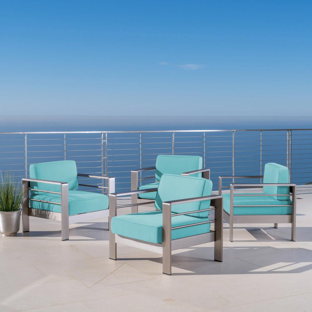 Noble House Cape Coral Silver Armed Metal Outdoor Lounge Chairs with Canvas Aruba Sunbrella Cushions (4-Pack)