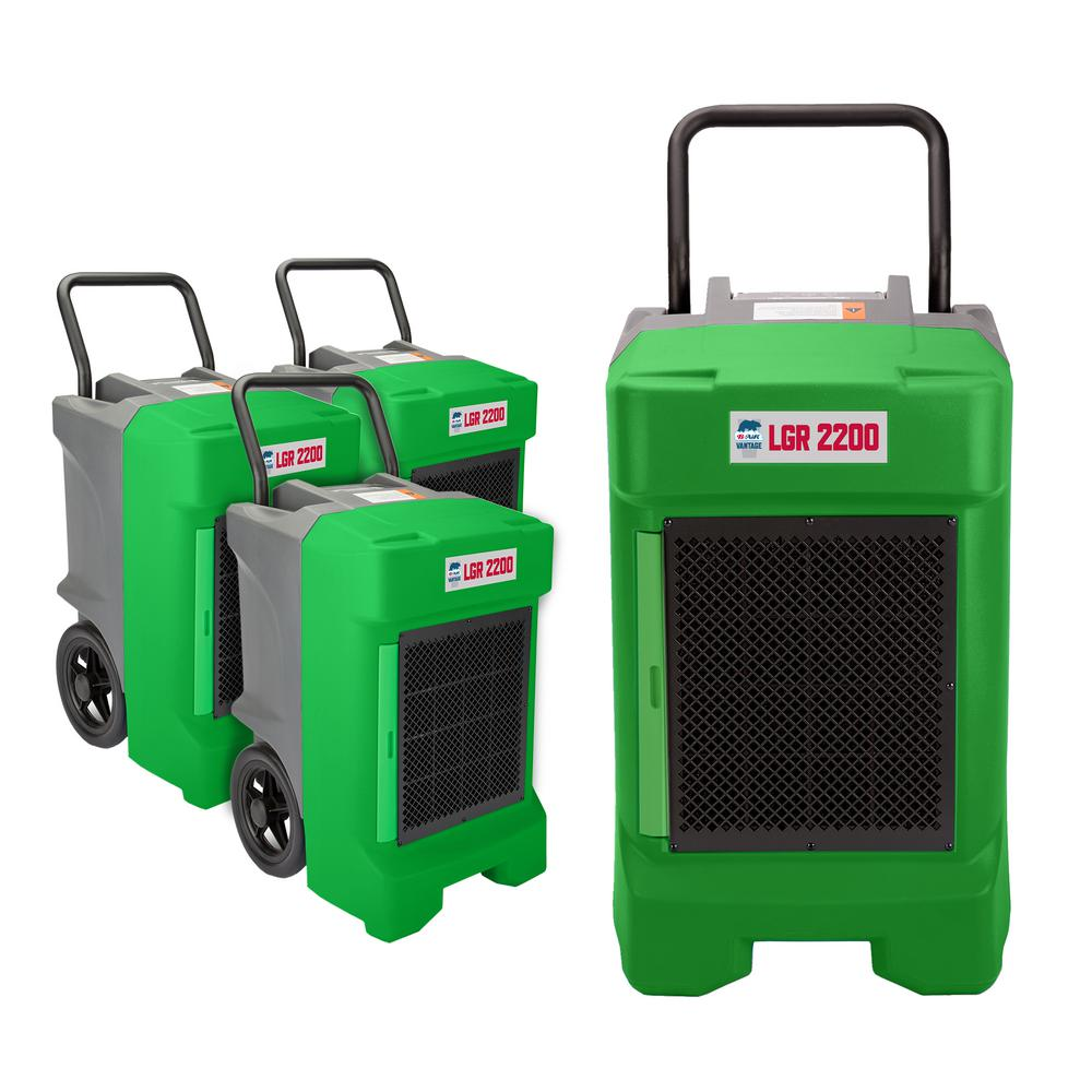 B-Air 225-Pint Commercial Dehumidifier for Water Damage Restoration Mold Remediation in Green, Greens The LGR 2200 high performance industrial dehumidifier combines high-tech design with professional grade performance and portability. Ideal for water damage restoration projects, its high efficiency rotary compressor ensures the maximum moisture extraction, of up to 225-Pint. per day (130 ppd AHAM). The LGR 2200 is the right dehumidify to tackle water damage restoration projects of all scales and perfect for industrial, commercial and personal use. Color: Greens.