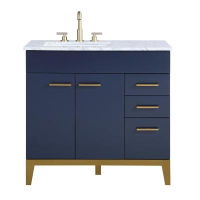 Alisson 36 in. W x 22 in. D Vanity in Dark Blue with Marble Vanity Top in Carrara White with White Basin