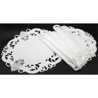 16 in. Round White Delicate Lace Embroidered Cutwork Placemats (Set of 4)