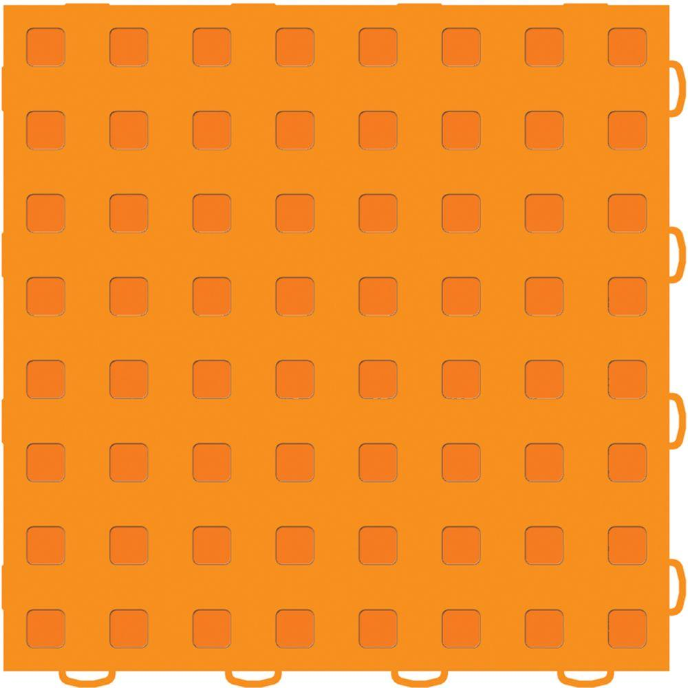 WeatherTech TechFloor 12 in. x 12 in. Orange/Orange Vinyl Flooring Tiles (Quantity of 10)