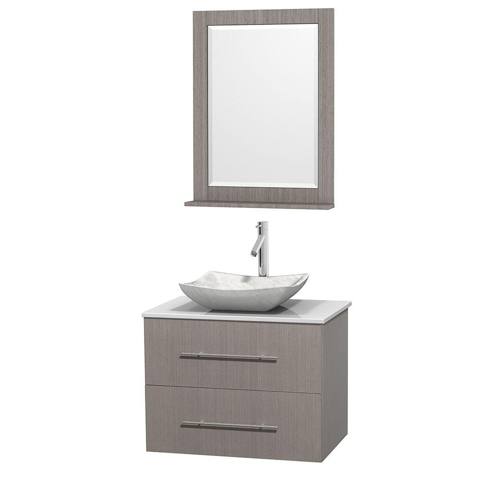 Centra 30 in. Vanity in Gray Oak with Solid-Surface Vanity Top