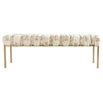 Off-White and Brown Moroccan Wedding Quilt Bench