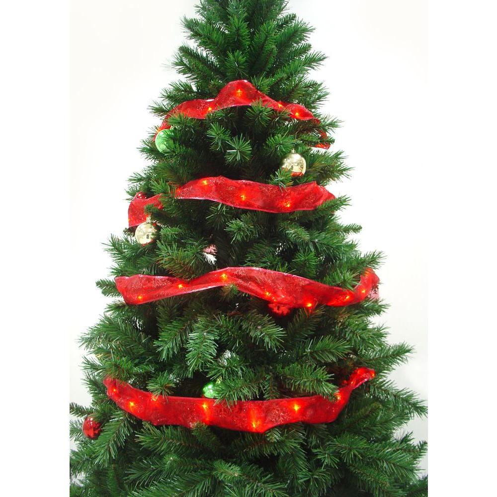 Starlite Creations 12 Ft. Pre-Lit LED Red Ribbon Garland