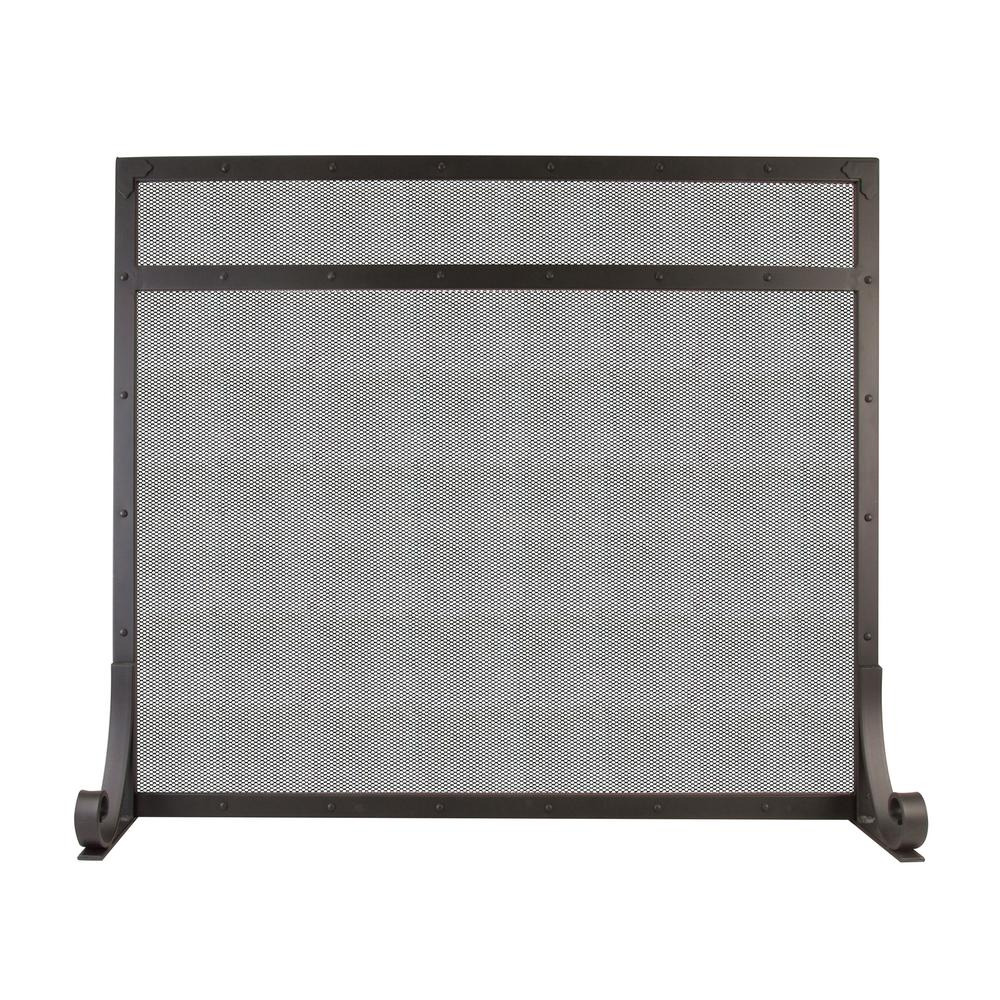 Selene 1-Panel Fireplace Screen in Black