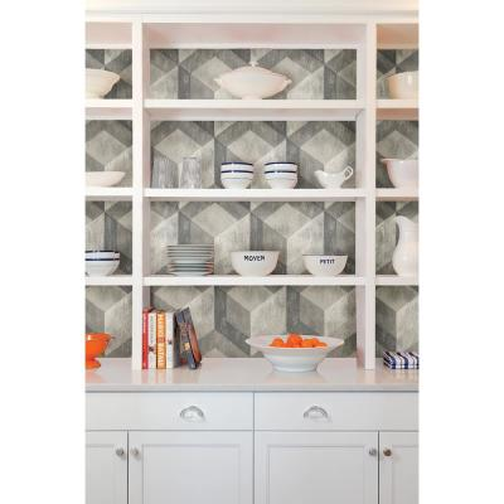 Grey Bauhaus Weathered Wood Peel and Stick Wallpaper