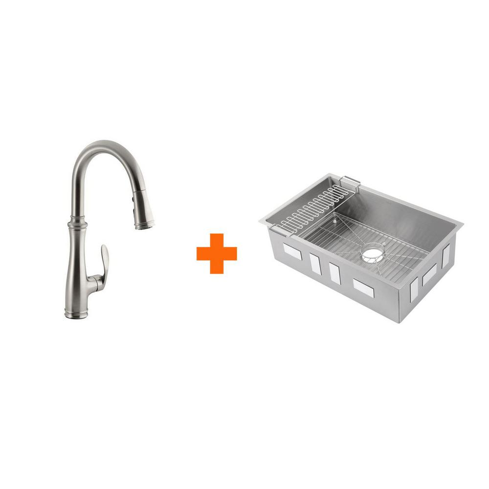 KOHLER Strive All-in-One Undermount Stainless Steel 29 in. Single Bowl  Kitchen Sink with Faucet in Stainless Steel (4-piece)