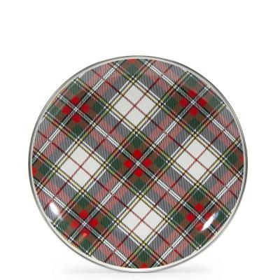 10.5 in. Highland Plaid Enamelware Round Dinner Plate Set of 4