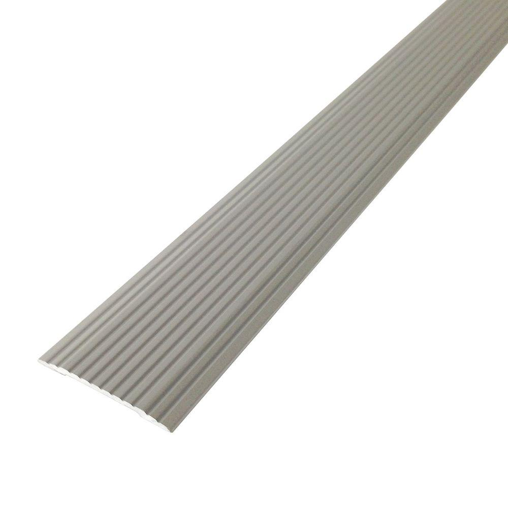 M-D Building Products Cinch 1.25 in. x 36 in. Satin Silver Fluted Seam Cover Transition Strip
