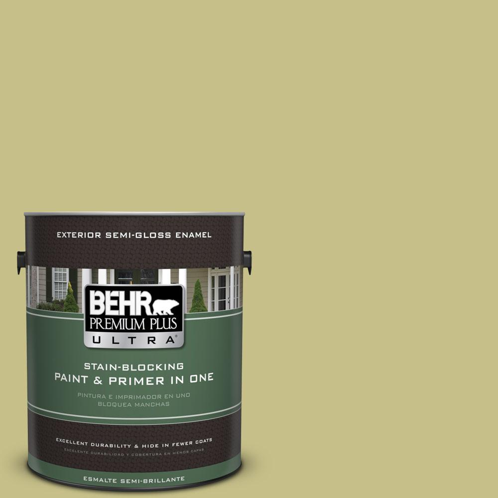 BEHR Premium Plus Ultra 1-gal. #PPU9-11 Wheat Grass Semi-Gloss Enamel Exterior Paint
