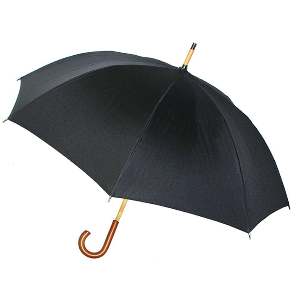 Kenlo 48 in. Arc Cherry Wood Handle Stick Umbrella in Black