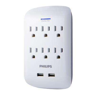 6-Outlet 2 USB 2.1 Amp Surge Protector Tap, White