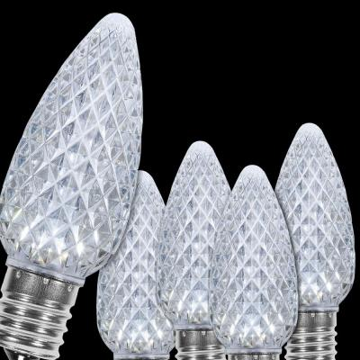 OptiCore C9 LED Cool White Faceted Christmas Light Bulbs (25-Pack)