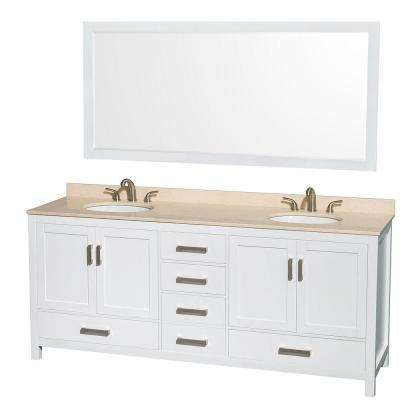 Sheffield 80 in. Double Vanity in White with Marble Vanity Top in Ivory and 70 in. Mirror