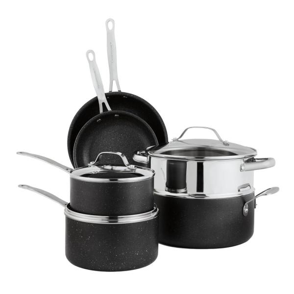 Granitestone 10 Piece Aluminum Ultra Durable Non Stick Diamond Infused Cookware Set With Glass Lids 2228 The Home Depot