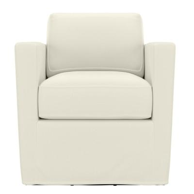 Anastasia Creamy White Brushed Velvet Swivel Club Chair