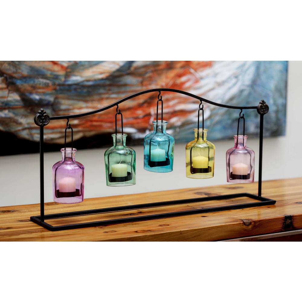 12 in. 5-Jar Suspended Votive Candle Holders in Multi Color