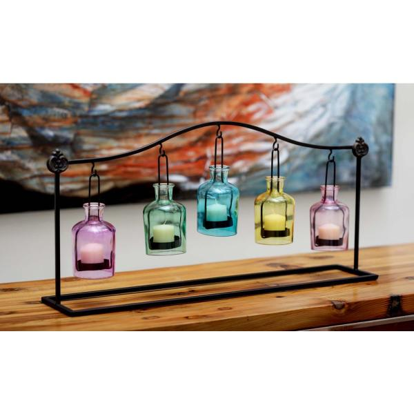 Litton Lane 12 in. 5-Jar Suspended Votive Candle Holders in Multi