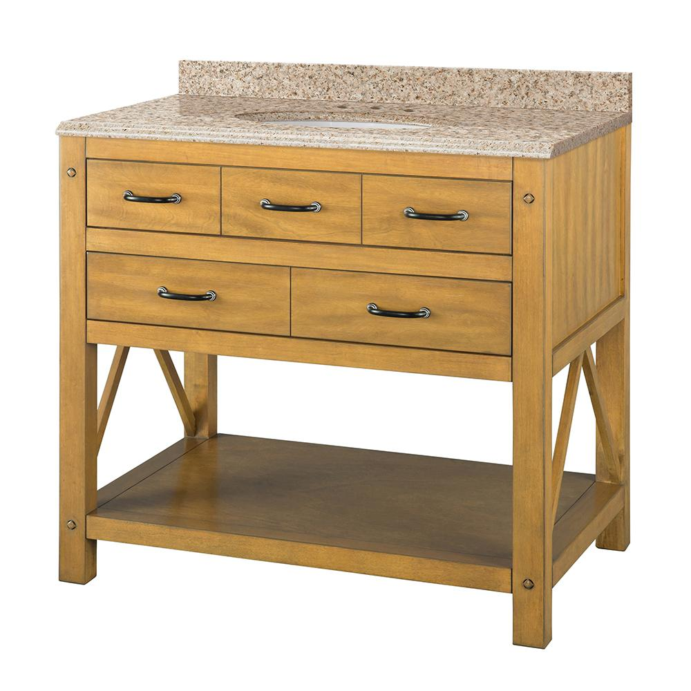 Home Decorators Collection Avondale 37 in. W x 22 in D Vanity in Weathered Pine with Granite Vanity Top in Beige with White Sink