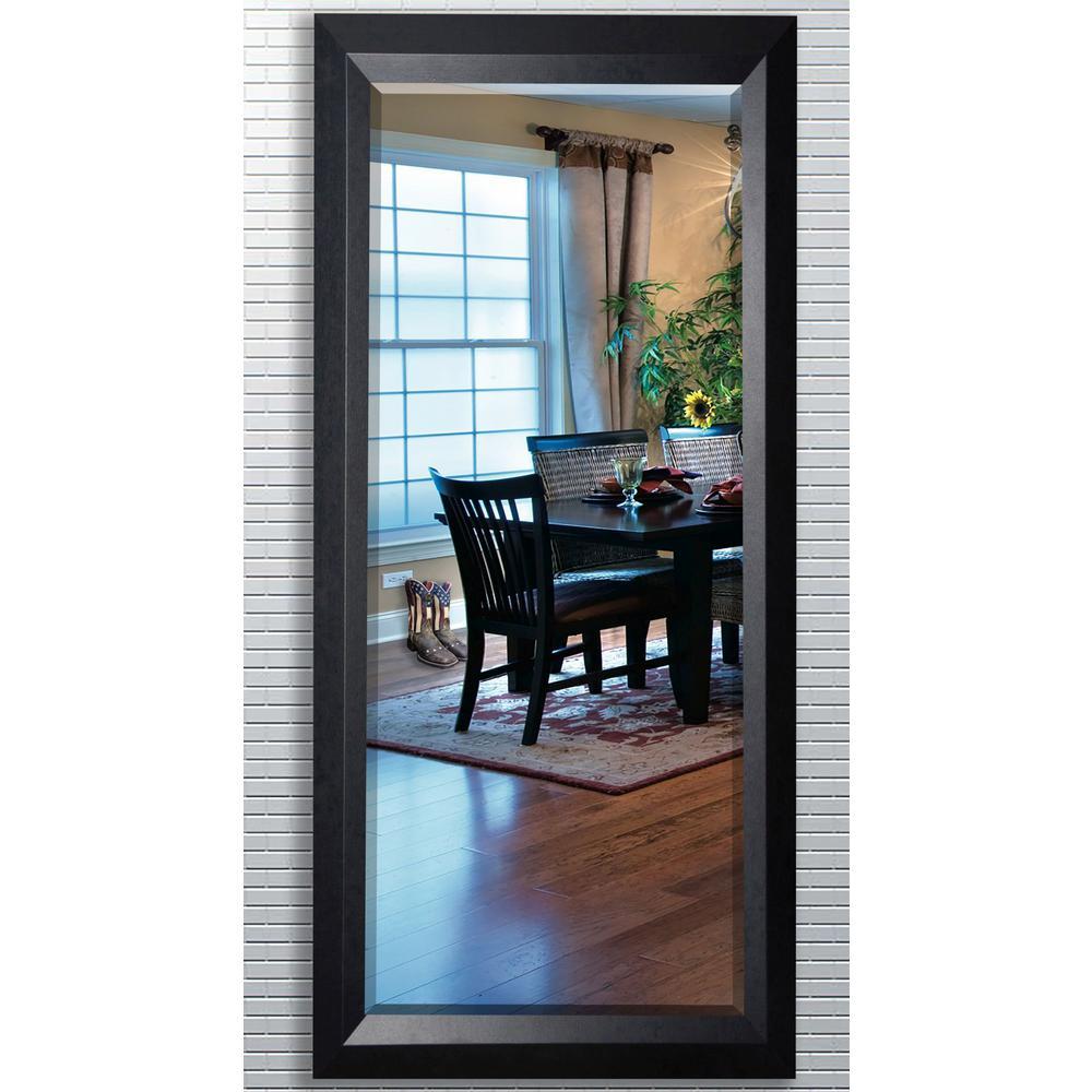 30.5 in. x 71.25 in. Solid Black Angle Beveled Oversized Full Body Mirror