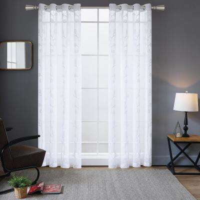 Della 54 in. L x 52 in. W Embroidery Sheer Polyester Curtain in White