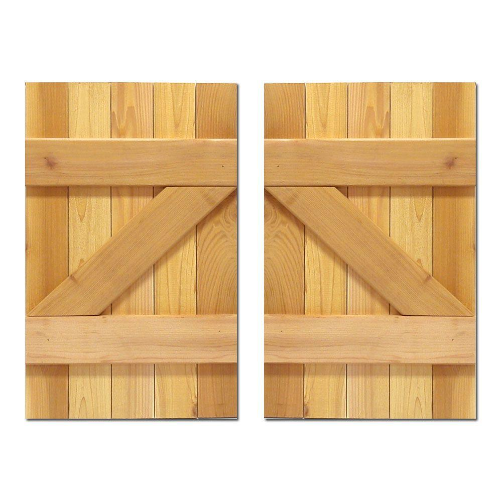 Design Craft MIllworks 15 in. x 25 in. Board-N-Batten Baton Z Shutters Pair Natural Cedar