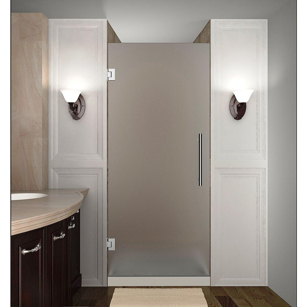 Aston Cascadia 28 In. X 72 In. Completely Frameless Hinged Shower Door With Frosted Glass In