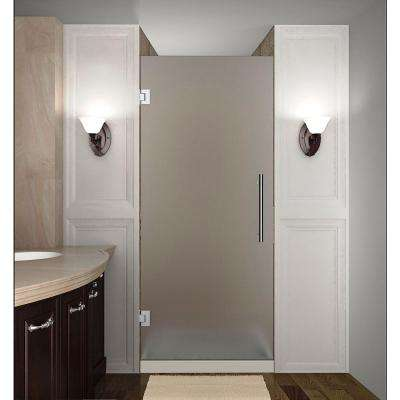 Cascadia 28 in. x 72 in. Completely Frameless Hinged Shower Door with Frosted Glass in Chrome