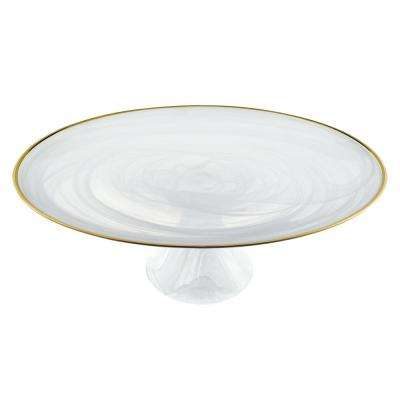 White Alabaster Glass with Gold Trim 13 in. Footed Cake Plate