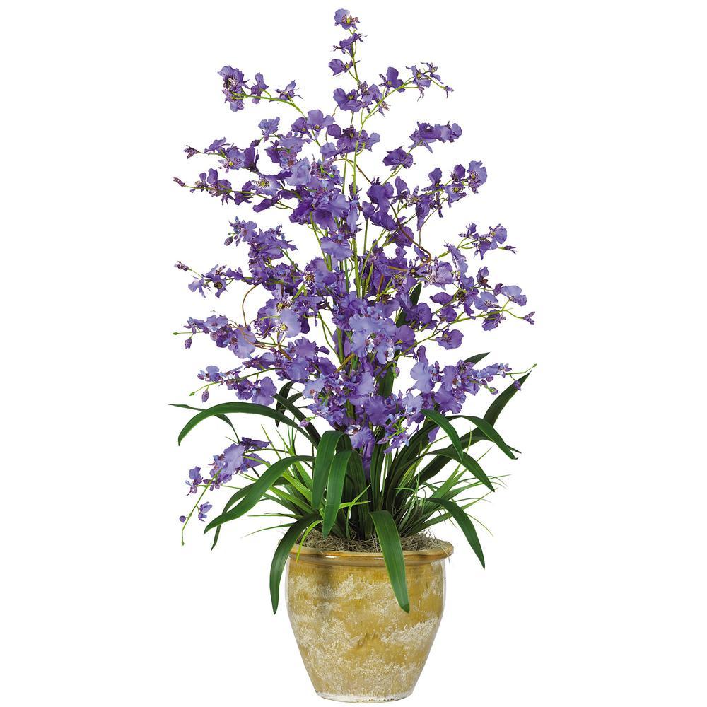 32 in. Triple Dancing Lady Silk Flower Arrangement in Purple