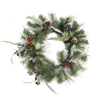 24 in. Unlit Artificial Mixed Pine with Blueberries Pine Cones and Ice Twigs Christmas Wreath